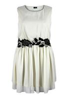 Lovedrobe Cream Lace Contrast Chiffon Dress
